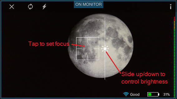 Screen shot of SlingStudio Capture app, with annotations